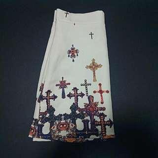Baroque Print Cross Skirt