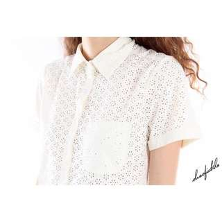 Ohsofickle White Eyelet Cropped Top