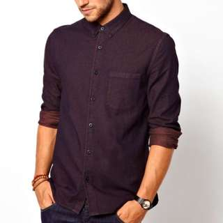 ASOS Denim Shirt In Long Sleeve With Overdye (Purple)