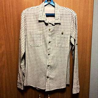 White Checkered Shirt With Breast Pockets