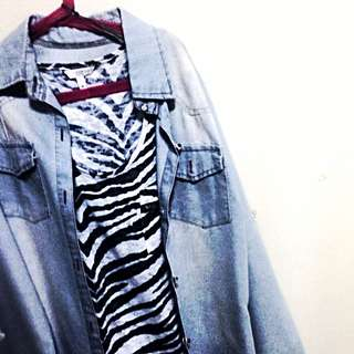 Denim Flannel And Zebra Print Tank Top From New Look