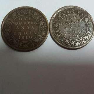 1907 & 1910 Edward Vii Quarter Anna
