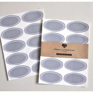 Gray - Letterpress Printed Oval Label (30pcs)