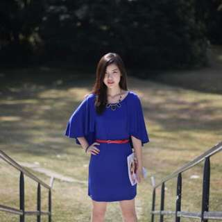 My First Love Cape Dress in Cobalt Blue S SIZE