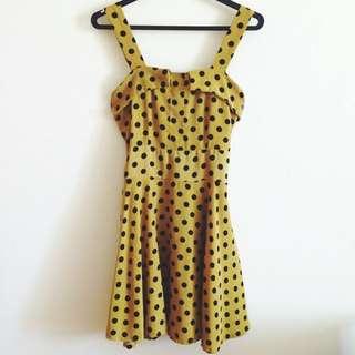 Yellow Retro Polka Dotted Dress