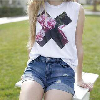 Tumblr X Shirt And Holographic Purse