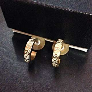 Chanel Vintage Coco Engraved Pierced Earrings