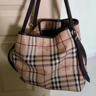 Burberry Haymarket Tote Bag In Dark Brown fb2e3c3c27