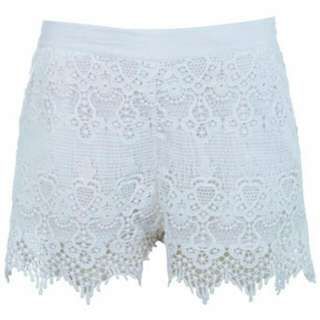 Miss Selfridge White Crochet Shorts