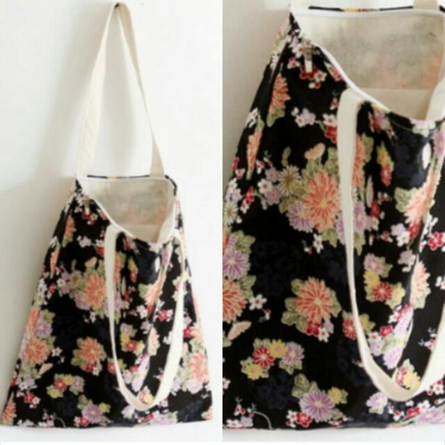 Black Floral Tote Bag / BX0023