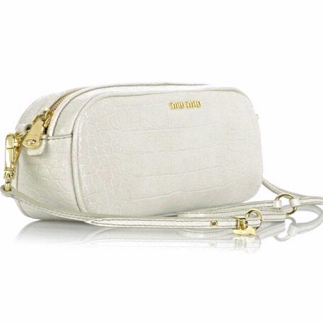 86bb05ac46d8 Miu Miu White Croc Print Leather Shoulder Bag