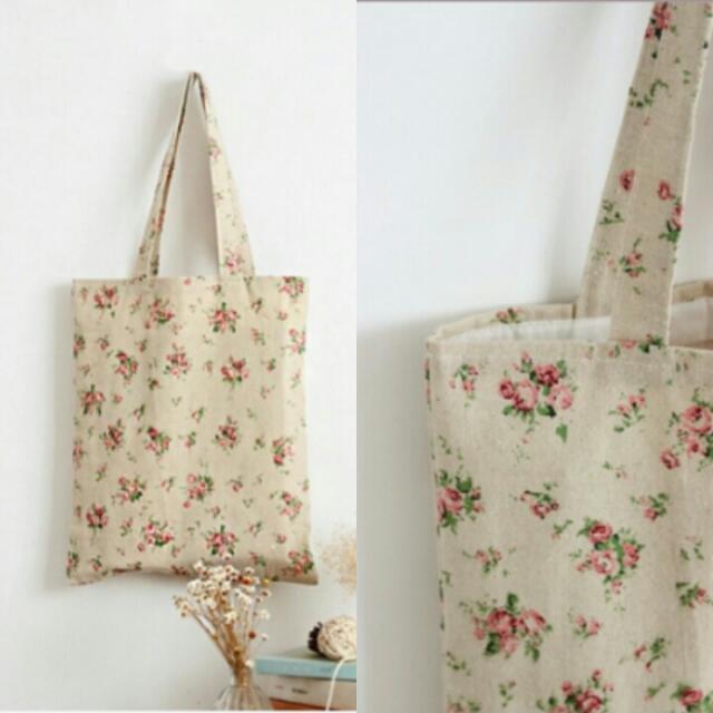 PO: Plain Floral Cotton Tote Bag / BX0029