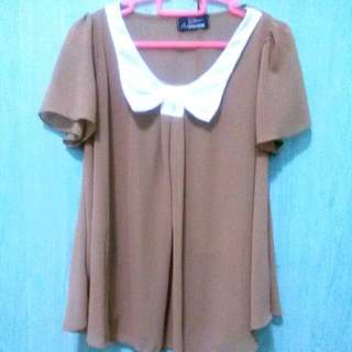 Brown Chiffon Top With Bow