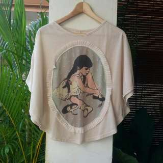 Cream Batwing Top