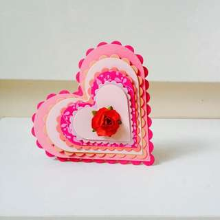 Pink And Red Layered Heartshape Card