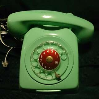 Vintage Green Working Rotary Phone