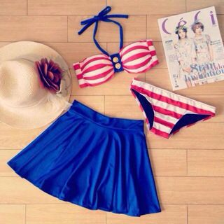 3PC Swimsuit (Red, White and Blue)