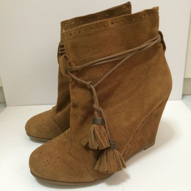 Stradivarius Leather Boots with Tassels Straps