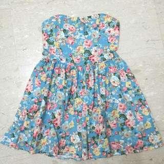 Light Blue Floral Tube Dress