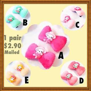 Hello Kitty On Soft Bow Hair Clip For Girls