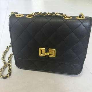 Black Gold chain Bag