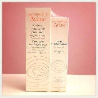 Avene Deep pore foaming cleanser + Oil Control Milk (set)
