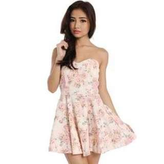 Looking For : Floral Skater Tube Dress(pink)