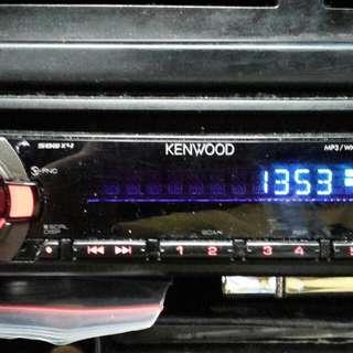 Kenwood player, sub woofer bass speaker plus box, amplifier, 2×8inch kenwood speaker plus box.
