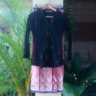 Black Kebaya Top With Batik Skirt