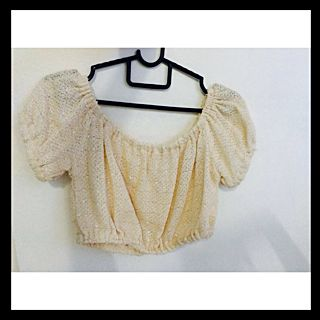 Cream Knitted Off Shoulder Crop Top