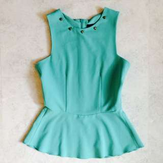 On Hold: ZARA Turquoise Bodycon Top Size S