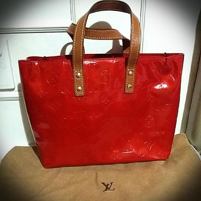 356a94992df7 Authentic LOUIS VUITTON Red Monogram Vernis Houston Tote Bag ...