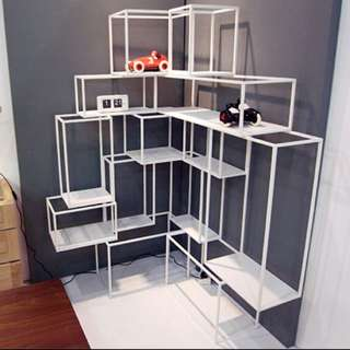 On Hold: Grafunkt White Corner Block Shelf (2 Pieces Combined Into 1)