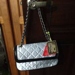 Love Label Silver Quilted Black Patent Chain Sling Handbag