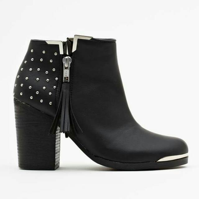 8538a9606 NastyGal MTNG Black Studded Ankle Boot Size 39, Women's Fashion on ...