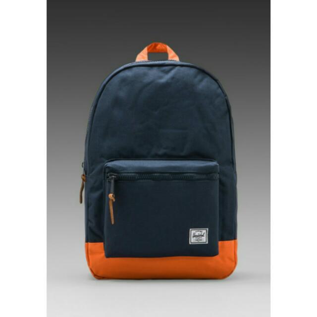 3d6652816f Herschel Supply Co Heritage Settlement Backpack Navy Blue   Mandarin  Orange
