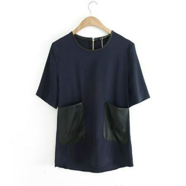 Leather Pocket Top In Navy