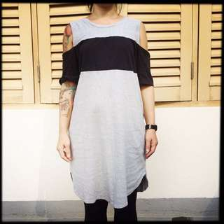Black/grey Tunic Dress With Detached Sleeved
