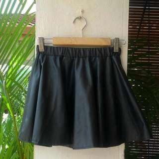 (Reserved) Faux Leather Skater Skirt