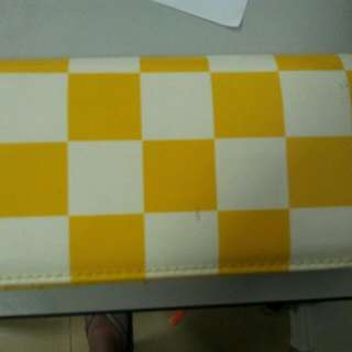 yellow checker long wallet