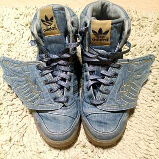 8a6379968ec9 Authentic Adidas ObyO x Jeremy Scott JS Wing Denim Shoes - Limited Edition