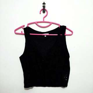 Valleygirl Black Lace Vest