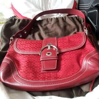 Reduce Now. Pm For Price!  Coach Signature Rare! Red Signature Handbag Authentic!! Almost New