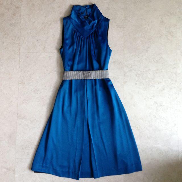 Swirl Blue Mandarin Collar Silk Dress With Belt Size One (fits UK 6/8)
