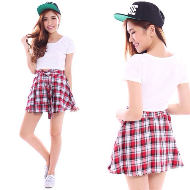 tie waist checkered skirt 🌸
