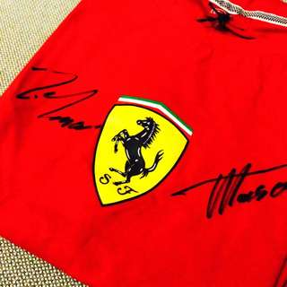 🆕 Autographed Ferrari Men T-shirt by Drivers Alonso and Massa
