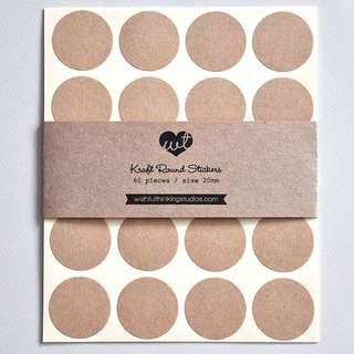 20mm Kraft Round Stickers (60pcs)