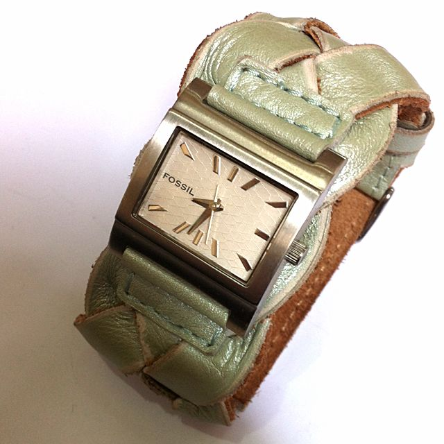 Watch Women Fossil Green Leather