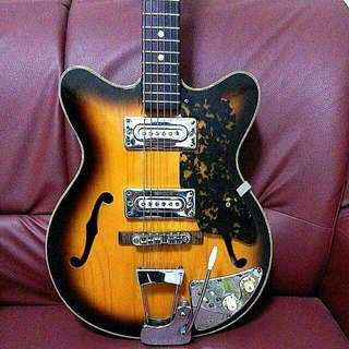 Vintage Guitar Semi Hollow Teisco 1967 Made In Japan