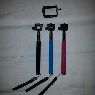 Extendable MONOPOD 1.2metres Black Red Blue Selfie With FREE PHONE BRACKET AND POSTAGE
